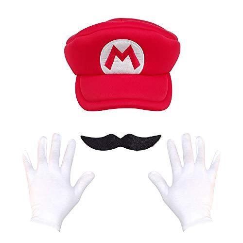 XINFA Super Mario Sombrero 3pcs / Set Juego Super Mario Cappy Sombrero Anime Bros Luigi Wario Cosplay Caps Moustache Guantes Adultos Fiesta De Navidad Props