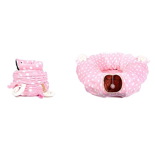 ykw Foldable Pet Cat Tunnel with Ball Toy Indoor Training Puzzle Toy ??Full Moon Section - Pink