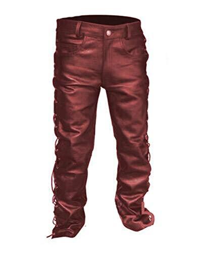 Hibasing Herren Schnüren Sie Sich Oben Lederhose Leder glänzend gerade Nachtclub Cosplay Hose