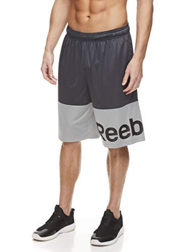 Reebok Men's Mesh Basketball Gym & Running Shorts w/Elastic Drawstring Waistband & Pockets - Hook Shot Ebony, Medium
