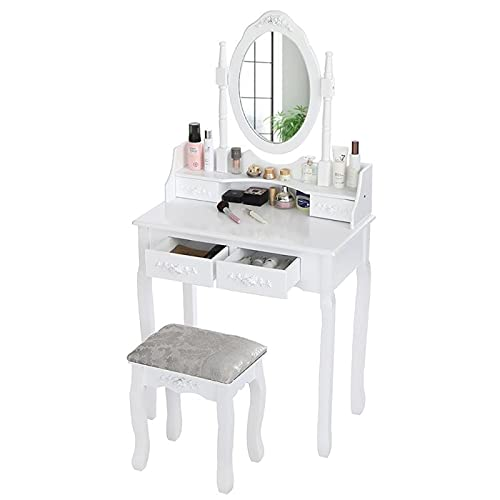 Xhtoe Tocador moderno de madera juego de tocador simple de maquillaje tocador silla de almacenamiento de joyería estante dormitorio aparador