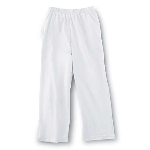 Samanthas Style Shoppe Women's Elastic Waist Comfortable Cropped Capri Pants, White, Medium