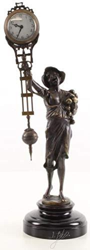 Casa Padrino Jugendstil Tischuhr Junge Bronze/Schwarz 13,5 x 10,6 x H. 37,4 cm - Bronzefigur mit Marmorsockel und Uhr - Schreibtischuhr