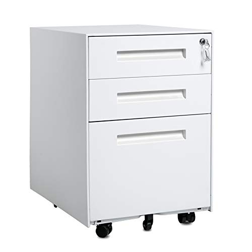 3-Drawer Mobile File Cabinet with Keys, Vertical Storage Unit Fully Assembled Except Casters, Letter/Legal Size, Mobile File Cabinet Metal Filing Cabinet Ship from USA Warehouse Arrive Fast (White)