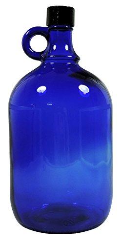 Mikken Blaue XL Glasflasche 2 Liter zum selbst befüllen, mit schwarzem Schraubverschluss