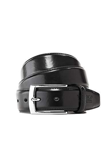 Vincenzo Boretti Cintura uomo in pelle con fibbia ad ardiglione argento, pelle lucida nero 100 cm