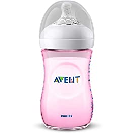 Philips Avent Natural Feeding Bottle 260ml Prime Feeding 1M + Pink