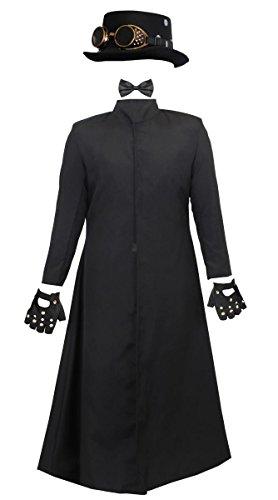 Conjunto de disfraz de caballero con diseo de steampunk para adultos, sombrero superior con gafas extrables, abrigo largo negro, guantes con tachuelas y lazo negro (XL)