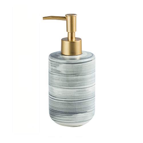 ZWMG Dispensador de jabón Loción de cerámica Botella Exquisita Mármol Mármol Loción Dispensador Dispensador de jabón con Bomba Golden Frosted 350ml / 11.8oz (Color : Gray)