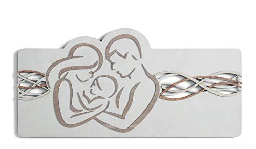 MAZZOLA LUCE capezzale Sacra Famiglia Moderna Quadro per Camera da Letto 119x59 Stilizzato cm Fibra di Legno Incisione Laser Made in Italy