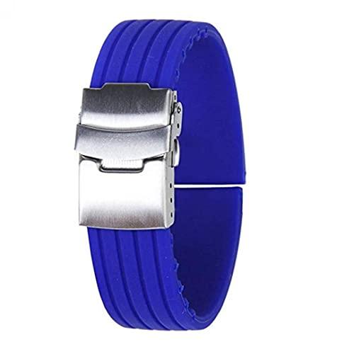 Reloj de Silicona Suave Correa de Caucho Correa de reemplazo con la Correa del Reloj de Acero Inoxidable Fold Multi usos de Cierre Durante Sport Blue Divers