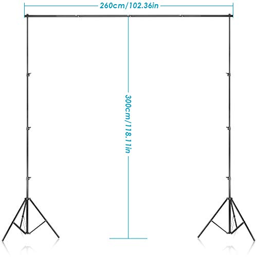 Neewer 2.6M x 3M/8.5ft x 10ft Background Support System and 800W 5500K Umbrellas Softbox Continuous Lighting Kit for Photo Studio Product,Portrait and Video Shoot Photography
