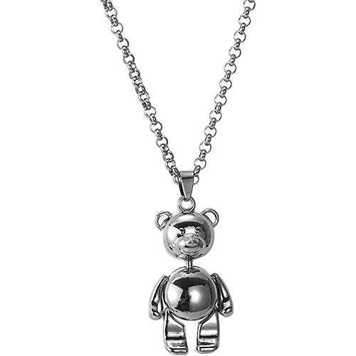 Frtspy Hip Hop Bear Colgante de Bloqueo de Bloqueo de Cadena Piezas de Cadena peludas Regalos de Collar de Acero Inoxidable