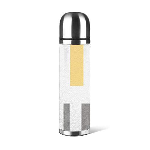 Art Fan-Design - Botella de agua de acero inoxidable con diseño moderno y elegante, a rayas amarillas y grises, con aislamiento al vacío, a prueba de fugas, doble pared, contenedor de viaje, termo de 500 ml