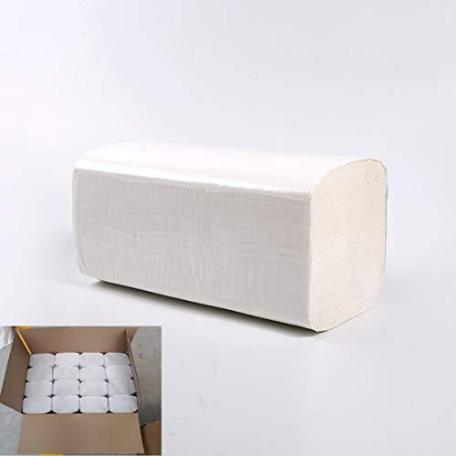 Defacto extra weiche Zickzack Papierhandtücher Falthandtücher für Zickzack Papierhandtuchspender - besonders saugfähig, 2-lagig, weiß (6400)