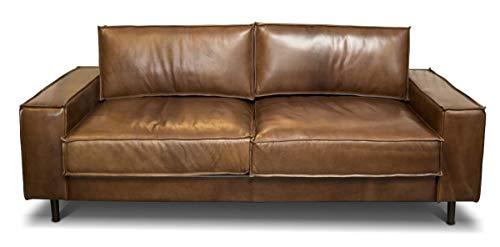 Casa Padrino Luxus Echtleder Lounge Sofa Vintage Leder Braun - Luxus Wohnzimmer Couch Möbel Büffelleder