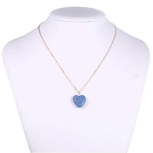 Pinhan Love Heart Collar de piedra volcánica difusor de aceite esencial colgante suéter cadena hueco amor mujer 72 cm dorado