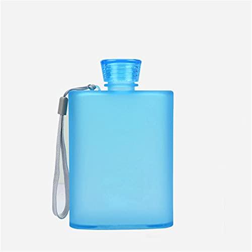 JTKJ Anillo plano taza de agua grado alimenticio como Material0 botella deportiva inodoro fácil de llevar y se puede utilizar para adolescentes y adultos, azul 400 ml