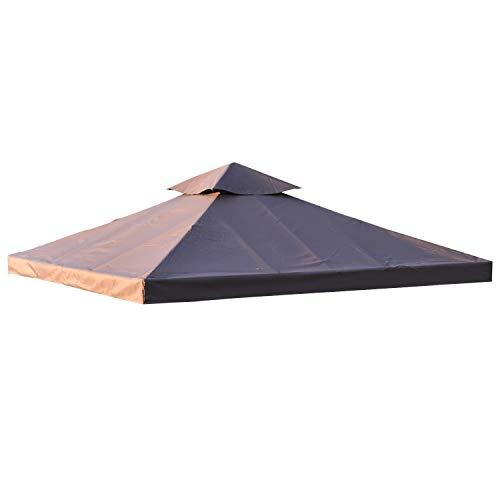 Outsunny Toile de Rechange pour pavillon tonnelle Tente 3 x 3 m Polyester Haute densité 180 g/m² Chocolat