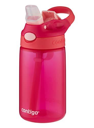 Contigo Kinder Trinkflasche Gizmo Flip Pink Coral Autospout mit Strohhalm, BPA-freie Wasserflasche, auslaufsicher, ideal für Kindergarten, Schule und Sport, 420 ml