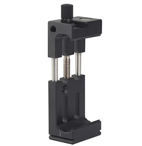 Zhiyou Abrazadera para Teléfono Adaptador de Montaje en Trípode con Cold Shoe y Nivel de Burbuja, Soporte para Smartphone Vertical y Horizontal