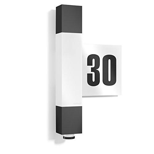 Steinel LED Wandleuchte L 630, inklusive Hausnummer, 360 Grad Sensor, 8 m Reichweite, Softlicht, Dauerlicht, UV-beständiger Kunststoff, Integriert, 8.2 W, Anthrazit, 6.5 x 21.1 x 36.4 cm