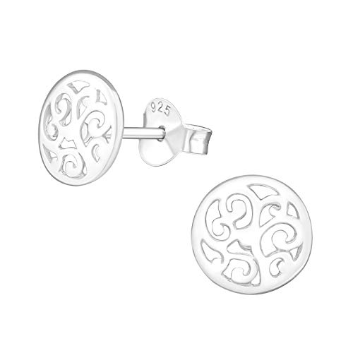Laimons Damen-Ohrstecker Damenschmuck Mandala Scheibe Platte 8mm glanz Sterling Silber 925