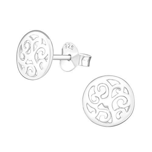 Laimons Pendientes para mujer diseño de mandala Brillante Plata de ley 925