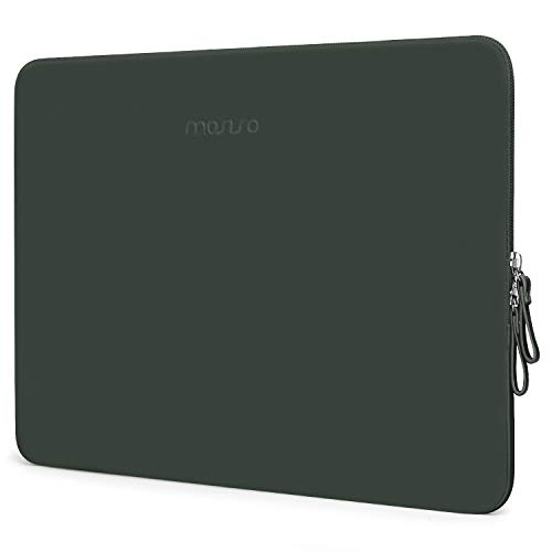 MOSISO Laptop Sleeve Compatible with MacBook Air 13 inch A2337 M1 A2179 A1932, 13 inch MacBook Pro A2338 M1 A2289 A2251 A2159 A1989 A1706 A1708, PU Leather Padded Bag Waterproof Case, Midnight Green