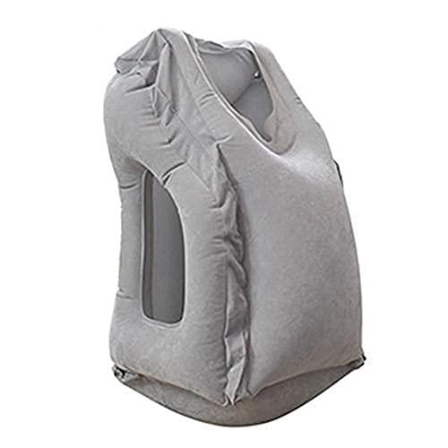 jwj Almohada de viaje portátil Cojín de cuello para hombres y mujeres al aire libre vuelo tren almohada dormir viaje (color: gris)