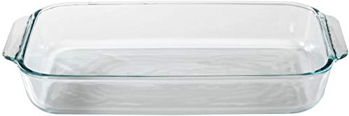 Pyrex Basics 3 Quart Glass Oblong Baking Dish, Clear 8.9' X 13.2'