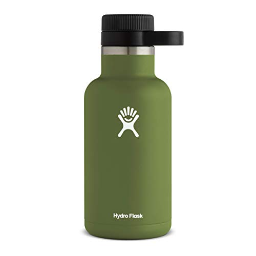 Hydro Flask Beer Growler - Stainless Steel & Vacuum Insulated - Easy-Carry Handle - 64 oz, Olive