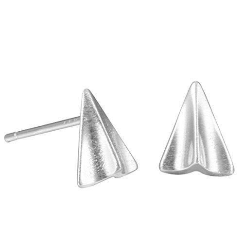 Origami airplane pendientes joyas en plata, Origami, Origami Papel avión pendientes