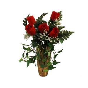 RED Rose w/ Baby'S Breath Ivy for Crypt / Mausoleum Bouquet for Grave-site Presentation in Remembrance of Loved Ones NO VASE