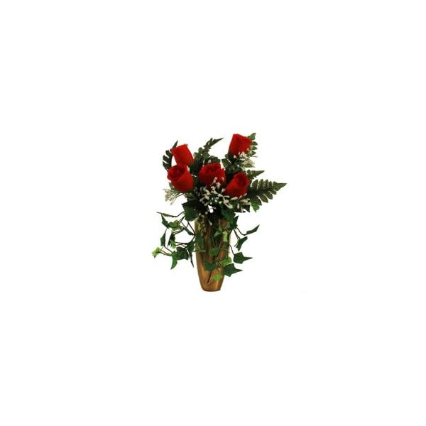Memory Lane Memorials RED Rose w/Baby'S Breath Ivy for Crypt/Mausoleum Bouquet for Grave-site Presentation in Remembrance of Loved Ones NO VASE