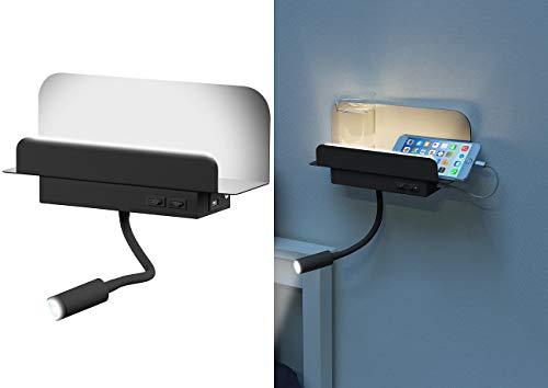 Carlo Milano Nachttisch Regal: Wandregal mit Leselicht, Nachtlicht & USB-Ladeport, 445 Lumen, schwarz (Wandregal mit LED-Licht)