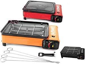 B-black® Cucina da Campeggio XXL, Barbecue a Gas, Portatile con Adattatore bombola GPL Omaggio