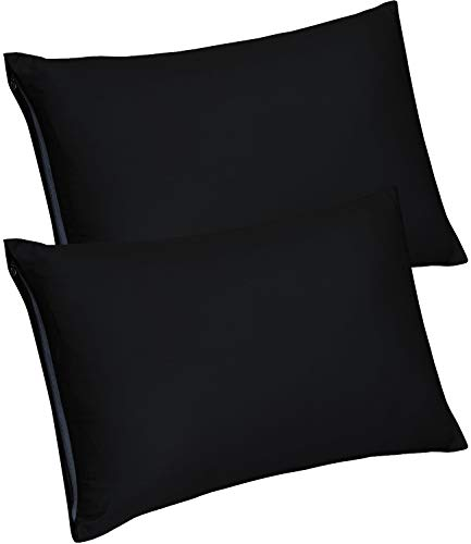 Utopia Bedding Zippered Bamboo Pillow Cases - Pack of 2 Pillow Protector - (Queen, Black) Pillow Protector - Bamboo Sateen Pillow Encasement (20 by 30 inches)