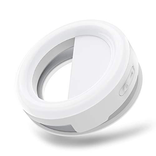Jecoo Selfie Ring Light Portátil, Anillo Aro de luz LED, Luz de Relleno estéreo, luz de 3 Niveles de Brillos, teléfono, cámara con sorporte para Youtube, transmisión,TikTok en Vivo, Carga USB