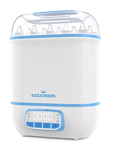 Eccomum Baby Bottle 𝘚𝘵𝘦𝘳𝘪𝘭𝘪𝘻𝘦𝘳 and Dryer, LED Touch Screen, 360° Steam 𝐃𝐢𝐬𝐢𝐧𝐟𝐞𝐜𝐭𝐢𝐨𝐧 & Drying, Super Large Capacity, HEPA Filter, Homemade Dried Fruit