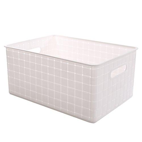 BINO Woven Plastic Storage Basket Large White