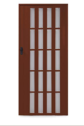Ondis24 Falttür Ayto, Schiebetür bis 84cm Breite & 205cm Höhe, Sichtfenster Acryl-Glas, Holzstruktur, abschließbar (Nussbaum)