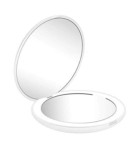 Espejo de Bolsillo,Flymiro Espejo de Bolsillo Compacto Iluminado LED para Maquillaje, Aumento de 1x 10X, Mini Espejo Portátil Plegable Redondo (White)