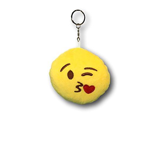 EKNA Emoji-Con Emotikon Plüsch Schlüsselanhänger mit Ring, Smiley Anhänger, Sechs Designs zur Auswahl (Kuss)