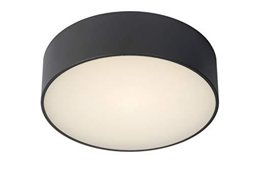 Lucide Roxane – Lámpara de techo para cuarto de baño, diámetro de 25 cm, LED, 1 x 10 W, 2700 K, IP54, color antracita