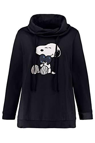 Ulla Popken Damen große Größen bis 64, Sweatshirt mit XL-Snoopy-Moti. Hoher Stehkragen mit Bindeband, 2 Taschen, Lange Ärmel, Rippbündchen, Marine 46/48 720755 70-46+