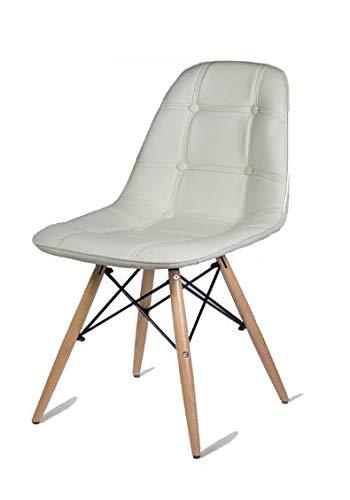 Beat Vintage-16 blanca Silla patas madera y asiento tapizado polipiel imitación cuero estilo nórdi