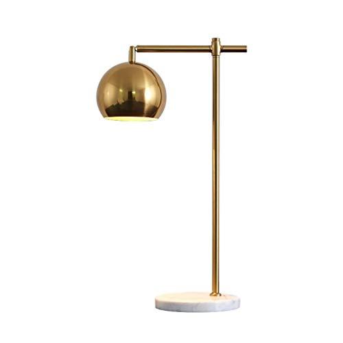 Lámpara de escritorio de dormitorios Personalidad lámpara de cabecera nórdico ajustable de cobre de mármol Lámpara de mesa principal de la lámpara Base Habitación Sala luz de la noche Lámpara de mesa