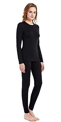 Women's 100% Merino Wool Thermal Underwear Long John Set 260g Base Layer Top and Bottom Warm Winter