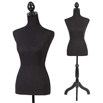 Mannequin Torso Manikin Dress Form 60-67 Inch Height Adjustable Female Dress Model Display Torso Body Tripod Stand Clothing Forms Black